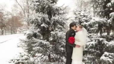Couple in the winter forest of snow-covered fir trees — Stock Video