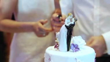 Cutting and folding plates on the wedding cake — Stock Video