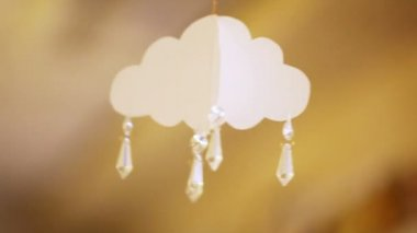 Paper cloud with pendants — Stockvideo