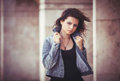 Girl with a denim jacket. — Stock Photo