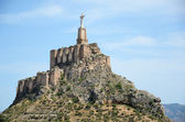 Steep hill of Monteagudo with Moorish castle — Stock Photo