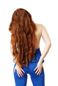 Young woman with long red hair waved — Stock Photo