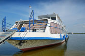 Moored pleasure boat with trap — Stock Photo