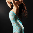 Nude woman bending in the lace cloth — Stock Photo