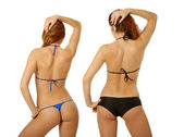 Two girls in bikini, rear view — Stock Photo