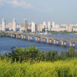 Bridge of Paton across river Dnieper, summer view — Stok fotoğraf
