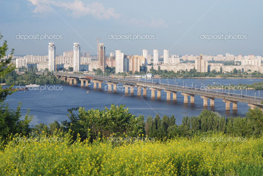 Bridge of Paton across wide river Dnipro, remote residential district of flat left river-bank, riverside rank summer grass in the foreground — Stock Photo #13498396