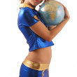 Woman in blue suit with globe, side view - Stock Photo