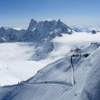 Snow slope with path for mountain-skiers, the Alps — Stock Photo
