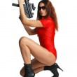 Sexy model with tommy-gun — Stock Photo