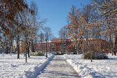 Cena de cidade de inverno, praça de universidade de estado de kiev — Foto Stock
