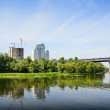 River bank of Kiev with the modern construction — Stock Photo