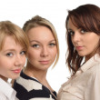 Closeup of three girls cutout — Stock Photo