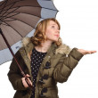 Young woman under the umbrella — Stock Photo #16493935