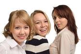 Close-up of three happy girls cut-out — ストック写真