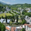 Summer view of Lourdes with the Rosary basilica - Stock Photo