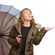 Young woman under the umbrella — Stock Photo