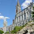 Upper church in Lourdes - Stock Photo