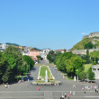 View of Lourdes with the Rosary square - Stock Photo