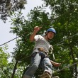 Teenage boy at the ropes course — Stock Photo