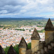 Stock Photo: Spanish landscape with white town and ancient battlements