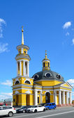 Rebuilt church in the modern street of Kiev — Stock Photo