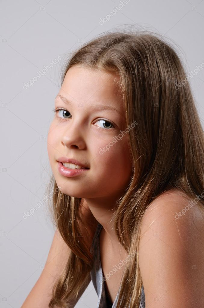 Portrait of the preteen girl - Stock Image