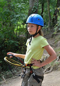 Child in the outfit for the rope course — Stock Photo