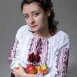 Cute Ukrainian woman with apples — Stock Photo