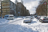 Transport collapse after the abundant snowfall in Kiev — Stock Photo