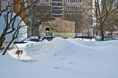 Snowdrifts after the abundant snowfall in Kiev — Stock Photo