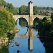 beroemde middeleeuwse brug in de oude Franse stad orthez — Stockfoto