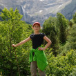 Stock Photo: Youth hiker against mountain cirque of Gavarnie