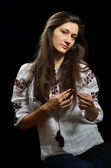 Ukrainian girl in embroidered blouse — Stock Photo