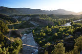 Valley of the pristine river Ara at sunset, Spanish Pyrenees — Stock Photo