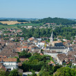 Stock Photo: Ancient French town Orthez and its outskirts from above