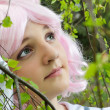 Foto Stock: Dreamy teenage girl in spring