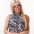 Blonde girl wearing glasses — Stock Photo