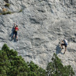 Climbers on the sheer rock — Stock Photo