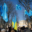 Stock Photo: Tatar flags in Ukrainicapital