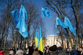 Tatar flags in the Ukrainian capital — Stock Photo