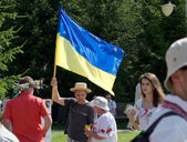 Ukranian flag at the folk festival  — Stock Photo