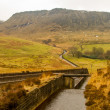 Stock Photo: Water overflow at Dovestone reservoir