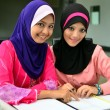 Beautiful young muslim businesswoman sharing info — Stock Photo