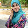 Young asian muslim woman in head scarf smile — Stock Photo