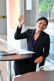 Beautiful asian young businesswomen smile — Stock Photo
