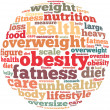 Obesity info-text graphics and arrangement concept on white background (word cloud) — Stock Photo
