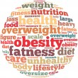 Obesity info-text graphics and arrangement concept on white background (word cloud) — Stock Photo #31575983