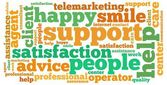 Customer service info-text graphics and arrangement concept (word cloud) — Stock Photo