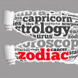 Torn Paper with zodiac info-text graphics — Stock Photo
